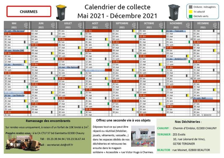 Commune de CHARMES - Calendrier de collecte des déchets ménagers - MAI - DEC 2021