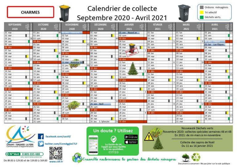 Commune de CHARMES - Calendrier de collecte des déchets ménagers - SEPT 2020 - AVRIL 2021